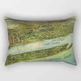 Panoramic view of West Palm Beach, North Palm Beach and Lake Worth, Florida (1915) Rectangular Pillow