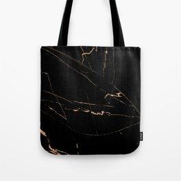 Black golden lined marble Tote Bag