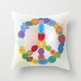 Peace Sign In Colors Throw Pillow