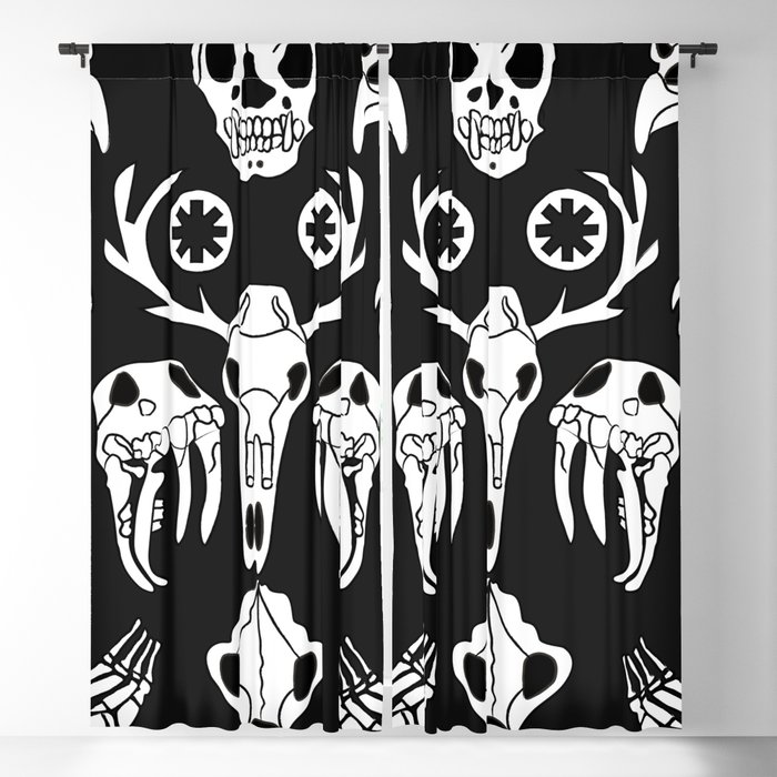 Vector sketch illustration animal skull. Drawing by hand. Boho style. Blackout Curtain