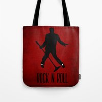 rock n roll Tote Bags featuring Rock N Roll by Eleanor Rose