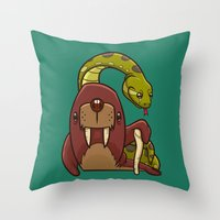 anaconda Throw Pillows featuring The Walrus and the Anaconda by Artistic Dyslexia