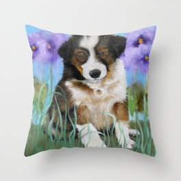 Shetland Sheepdog Puppy Baby Picture Throw Pillow