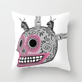 My Tronik Oaxaca Skul  Throw Pillow