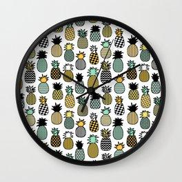 Geometric Pineapples Wall Clock