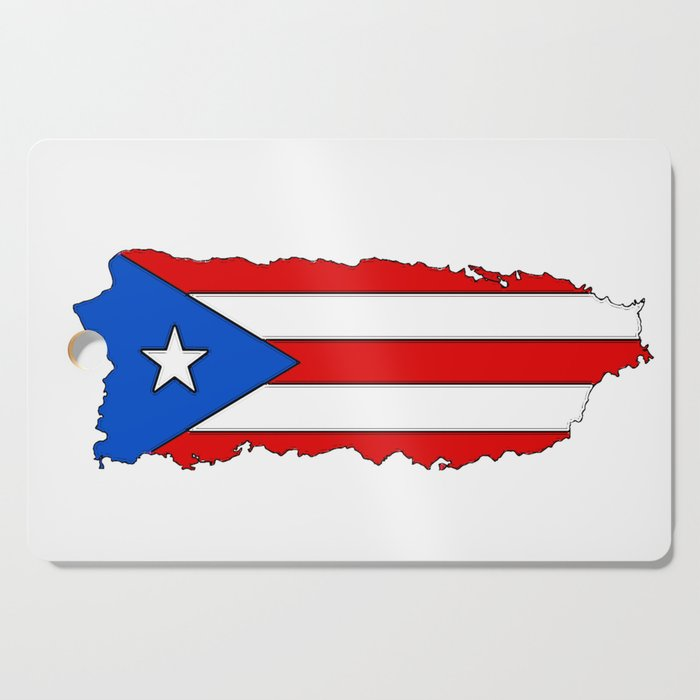 Puerto Rico Map with Puerto Rican Flag Cutting Board by havocgirl