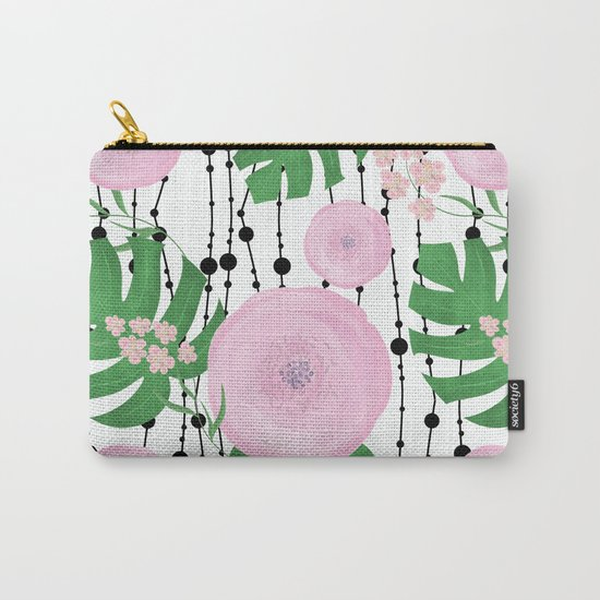 Pink flowers on a white background with black beads. Carry-All Pouch