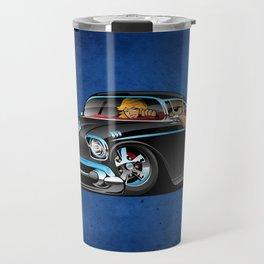 Classic hot rod fifties muscle car with cool couple cartoon Travel Mug