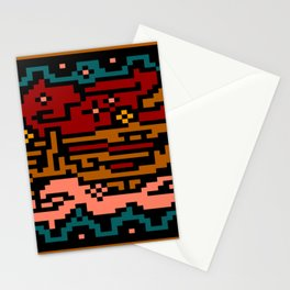 abstract landscape pixel pattern Stationery Cards