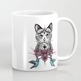 Cat with humming birds Coffee Mug