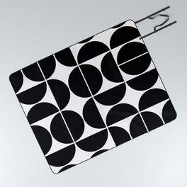 Mid Century Modern Geometric 04 Black Picnic Blanket