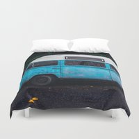 vw bus Duvet Covers featuring Vintage VW Bus Rusted  by Limitless Design