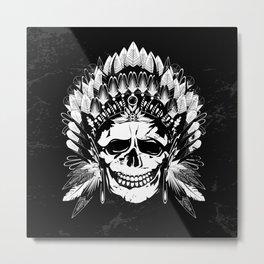 Indian Chief Skull Metal Print