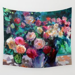Flowers on The Garden Table Wall Tapestry