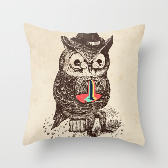 Strange Owl Throw Pillow