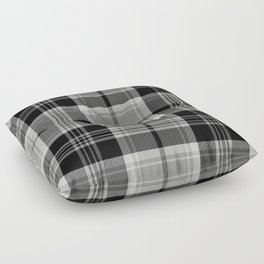 Black & White Tartan (var. 2) Floor Pillow