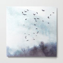 Foggy hand painted forest with birds watercolor landscape, texture in nordic style Metal Print