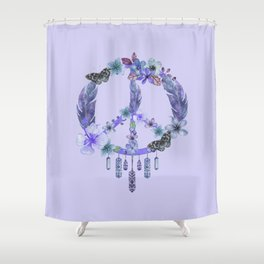 Purple Watercolor Peace Symbol Floral Dreamcatcher Shower Curtain