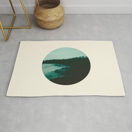 Forest Mountains & Fog Circle Photo Rug