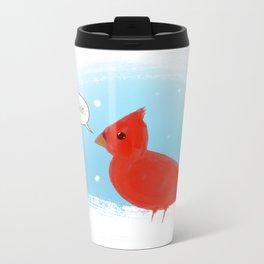 Winter Cardinal Metal Travel Mug