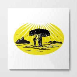 Adam and Eve Serpent Tree Woodcut Metal Print