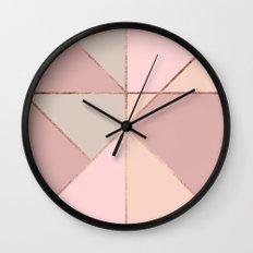 Modern rose gold peach blush pink color block Wall Clock