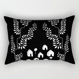 Line Vine Village Line Art Illustration in Black Rectangular Pillow
