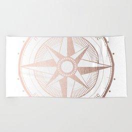 Rose Gold Compass Beach Towel
