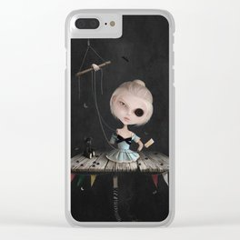 Crusher Doll Girl and black Bear Clear iPhone Case