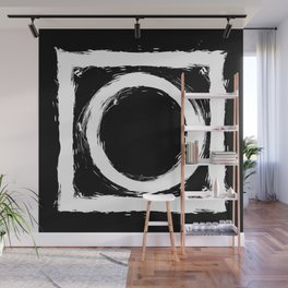 Black and white circle splatter Wall Mural