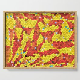 Yellow and red abstract Serving Tray