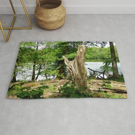 Dead tree with forest and lake photo Rug