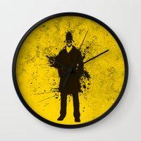 watchmen Wall Clocks featuring WATCHMEN - RORSCHACH (YELLOW EDITION) by Zorio
