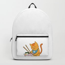 Ramen Noodles Lover, RAMEWN, Cat Lover Gift, Kawaii Cat Art, Funny Food Pun Backpack