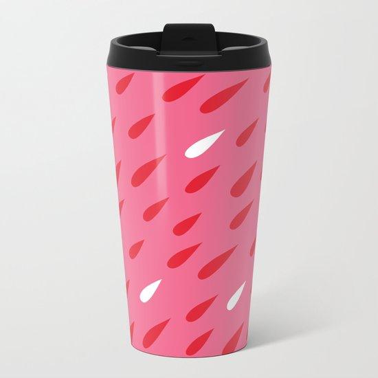 Red + Pink Droplets Metal Travel Mug