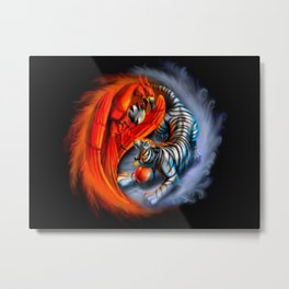 Yin Yang Tiger and Dragon Print Metal Print
