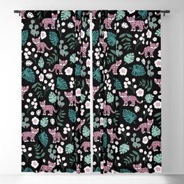 Little Leopard cub jungle forest palm tree pink Blackout Curtain