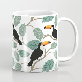 Toucan birds and palm leaves in the jungle Coffee Mug
