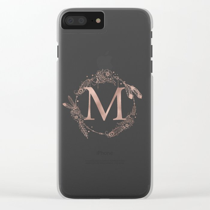 Letter M Rose Gold Pink Initial Monogram Clear iPhone Case
