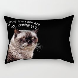 Angry cat,grumpy, bad day, Rectangular Pillow