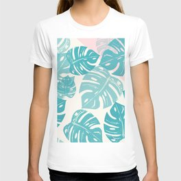 Linocut Monstera Rosy T-shirt