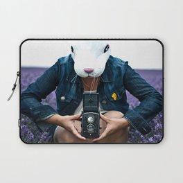 Bunny in a lavender field. Laptop Sleeve