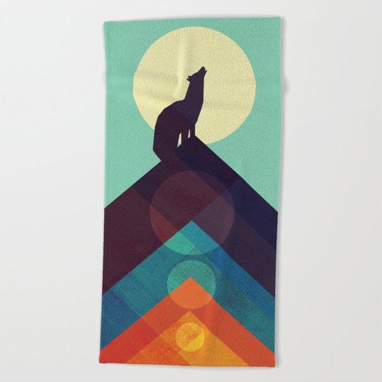 Howling Wild Wolf Beach Towel