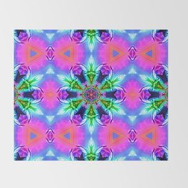 Cannabaphomet (Psychedelic Glitch Mandala Remix Version) Throw Blanket