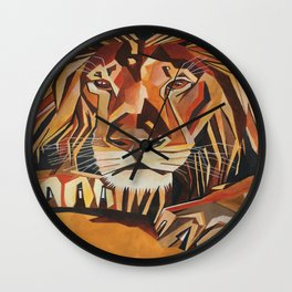 Lion Vector In Cubist Style Wall Clock