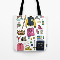 mean girls Tote Bags featuring Mean Girls by Shanti Draws