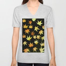 AUTUMN ROMANCE - LEAVES PATTERN #4 #decor #art #society6 Unisex V-Neck
