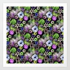 Purple Lime Floral Art Print