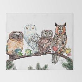 Tea owls , funny owl tea time painting by Holly Simental Throw Blanket