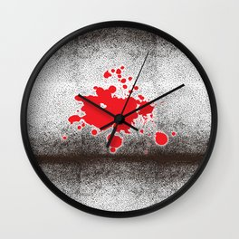 Spotted Bricks Red Splash Wall Clock